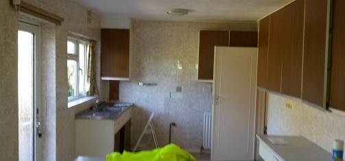 Remove kitchen cupboards, tiles and remove from site